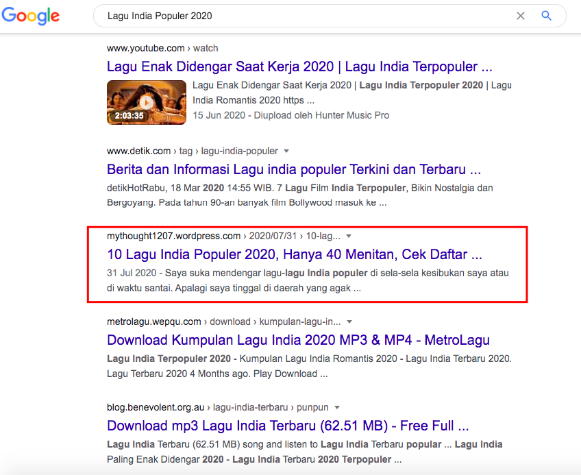 how to create SEO friendly blog post - search result lagu India populer 2020
