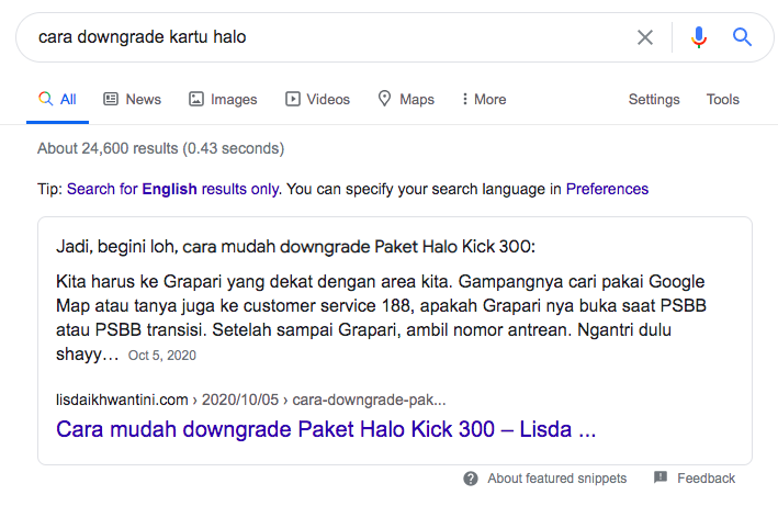 featured snippet lisda ikhwantini
